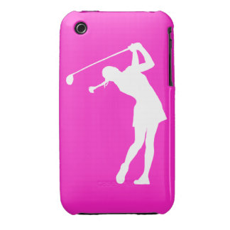 iPhone 3 Lady Golfer Silhouette White on Pink iPhone 3 Cases