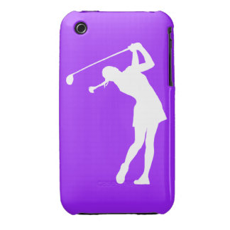 iPhone 3 Lady Golfer Silhouette White on Purple iPhone 3 Cover