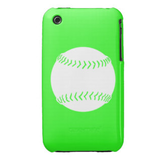 iPhone 3 Softball Silhouette White on Green iPhone 3 Case-Mate Case