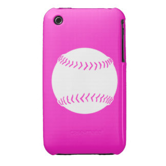 iPhone 3 Softball Silhouette White on Pink iPhone 3 Cover