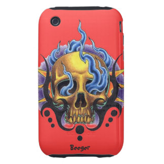 Iphone 3 tough - Old Skool Tattoo Skull with Flame iPhone 3 Tough Case
