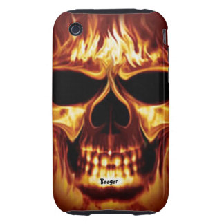 Iphone 3 tough - Skull Face on Fire Tough iPhone 3 Case