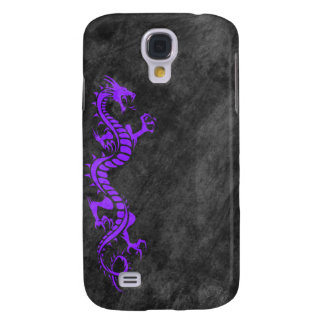 iPhone 3G Case - Grunge Dragon on Black (purple)
