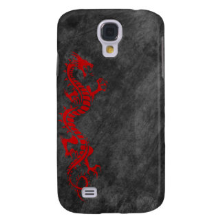 iPhone 3G Case - Grunge Dragon on Black (red)