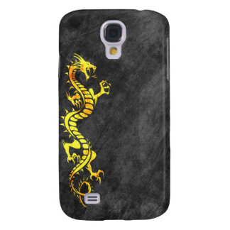 iPhone 3G Case - Grunge Dragon on Black (yellow)