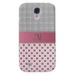 IPhone 3G Case - Monogram Pink Plaid & Circles Samsung Galaxy S4 Cover