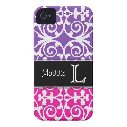 iPhone 4/4s del monograma del damasco de las rosas Case-Mate iPhone 4 Protectores