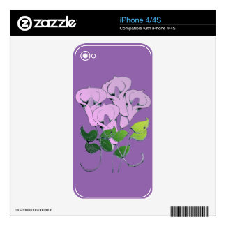 iPhone 4/4S Skin with Lily Art Skin For iPhone 4S