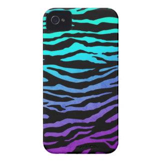 iPhone 4 Aqua, Blue & Purple zebra print case
