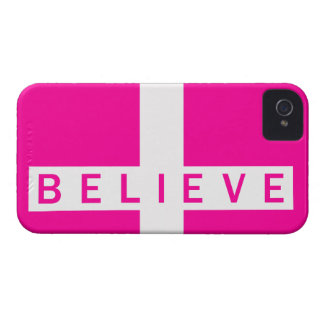 iPhone 4 B.There Believe Cross Horizontal Magenta Case-Mate iPhone 4 Case