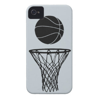 iPhone 4 Basketball Silhouette Black on SIlver iPhone 4 Case