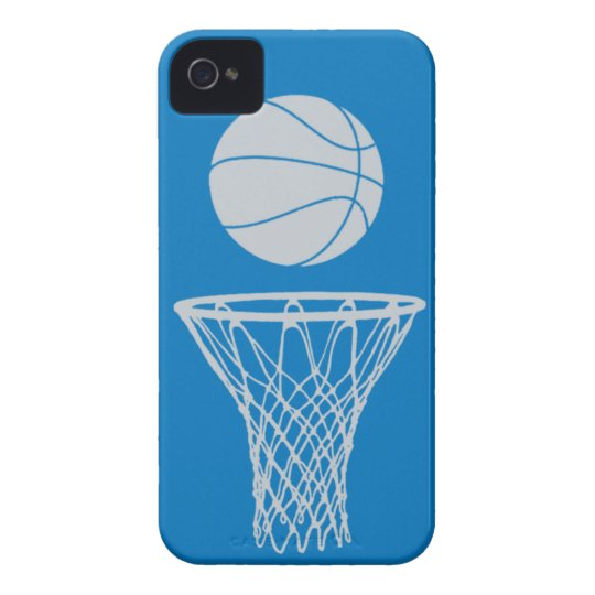iPhone 4 Basketball Silhouette Silver on Blue iPhone 4 Case-Mate Case