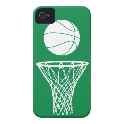 iPhone 4 Basketball Silhouette White on Green iPhone 4 Covers