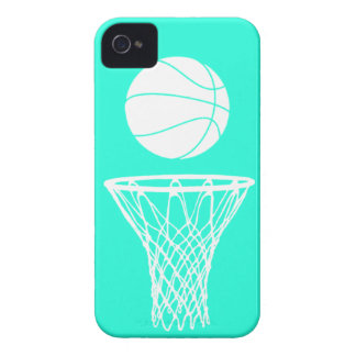 iPhone 4 Basketball Silhouette White on Turquoise iPhone 4 Case-Mate Cases