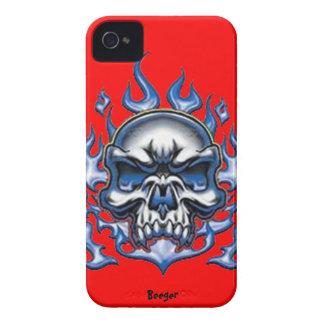 Iphone 4 BT - cráneo cristalino con las llamas iPhone 4 Funda