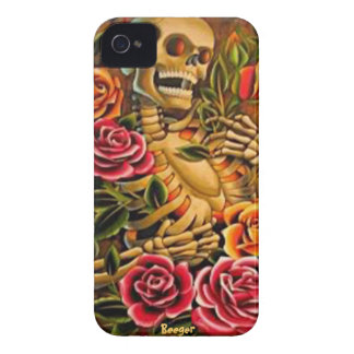 Iphone 4 bt - Mardi Gras Skeleton with Roses iPhone 4 Case