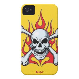Iphone 4 BT - Metal el cráneo con las llamas iPhone 4 Case-Mate Cobertura