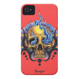 Iphone 4 bt - Old Skool Tattoo Skull with Flames iPhone 4 Cases