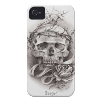 Iphone 4 bt - Skull with Crown of Thorns iPhone 4 Cases