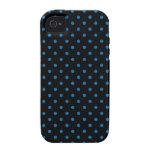 iPhone 4 Case Black and Blue Polka Dot