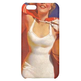 iPhone 4 Case Chic Retro Beach Swimsuit Gal & Ball