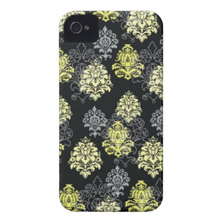 iphone 4 case...citron and black damask iPhone 4 cover