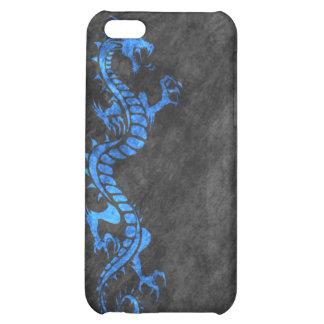iPhone 4 Case - Grunge Dragon on Black (blue)