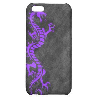 iPhone 4 Case - Grunge Dragon on Black (purple)