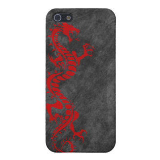 iPhone 4 Case - Grunge Dragon on Black (red)