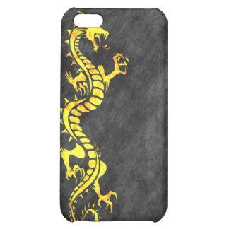 iPhone 4 Case - Grunge Dragon on Black (yellow)
