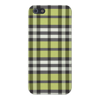 iPhone 4 Case Lime Green/Black Plaid Pattern