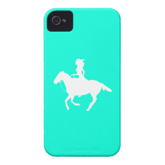 iPhone 4 Case-Mate Cowgirl 3 Silhouette Turquoise iPhone 4 Case-Mate Case