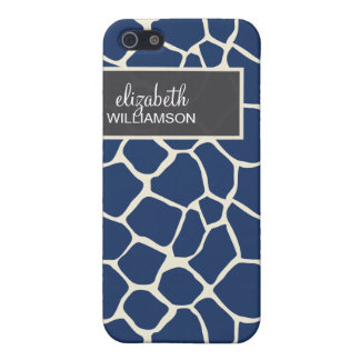 iPhone 4 Case Navy Blue Giraffe Pattern