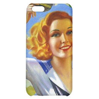 iPhone 4 Case Retro Sailor Gal pin-up Lady sailing