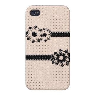 iPhone 4 Case Savvy Polka Dot and Flowers