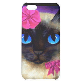iPhone 4 Case Siamese Cat Flower Ribbon Painting