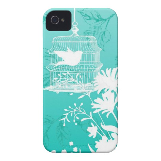 iphone 4 case.. .Silhouette  birdcage and floral Case-Mate iPhone 4 Case