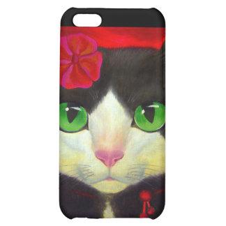 iPhone 4 Case Tuxedo Cat Red Flower Painting Art