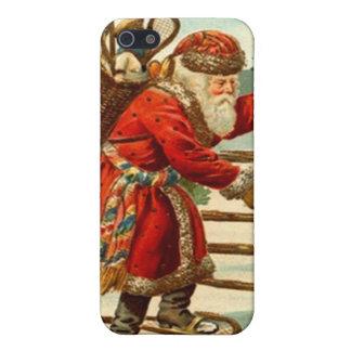 iPhone 4 Case Vintage snowshoeing Santa creel pack