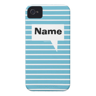 iPhone 4 Case with blue and white stripes