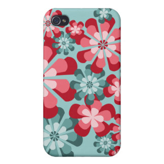 iPhone 4 Case with Pink and Teal Mod Flowers