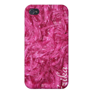 Iphone 4 cover pink furry Gift.