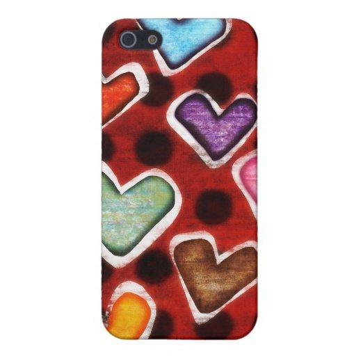 Iphone 4 de la caja de los corazones iPhone 5 fundas