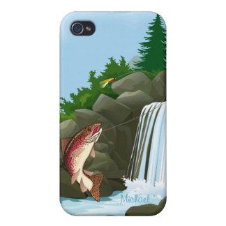 iPhone 4 de la pesca con mosca de la trucha de la  iPhone 4 Cárcasa