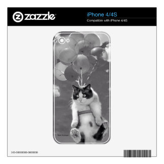 iPhone 4 Decal: Funny cat flying with Balloons Decals For The iPhone 4