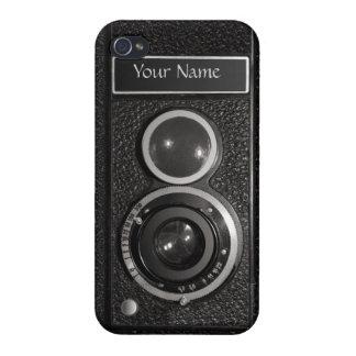 iPhone 4 del vintage del cromo del negro de la cám iPhone 4 Fundas