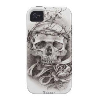 Iphone 4 duro - cráneo con la corona de espinas Case-Mate iPhone 4 fundas