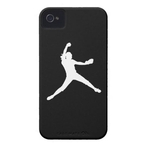iPhone 4 Fastpitch Silhouette White on Black Case-Mate iPhone 4 Cases