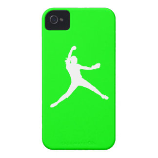 iPhone 4 Fastpitch Silhouette White on Green iPhone 4 Cases