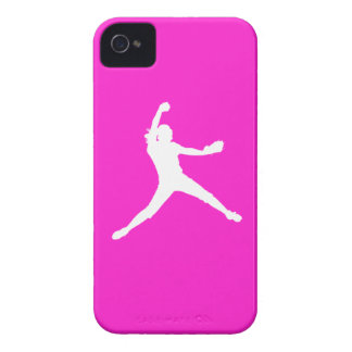 iPhone 4 Fastpitch Silhouette White on Pink iPhone 4 Case-Mate Cases